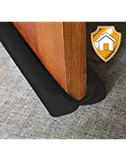 "MAXTID Under Door Draft Blocker Black 32-38"" Front Air Draft Stopper Reduce Noise Window Breeze Blocker Adjustable Door Sweeps"