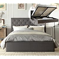 Istyle Chester Queen Gas Lift Ottoman Storage Bed Frame Fabric Grey