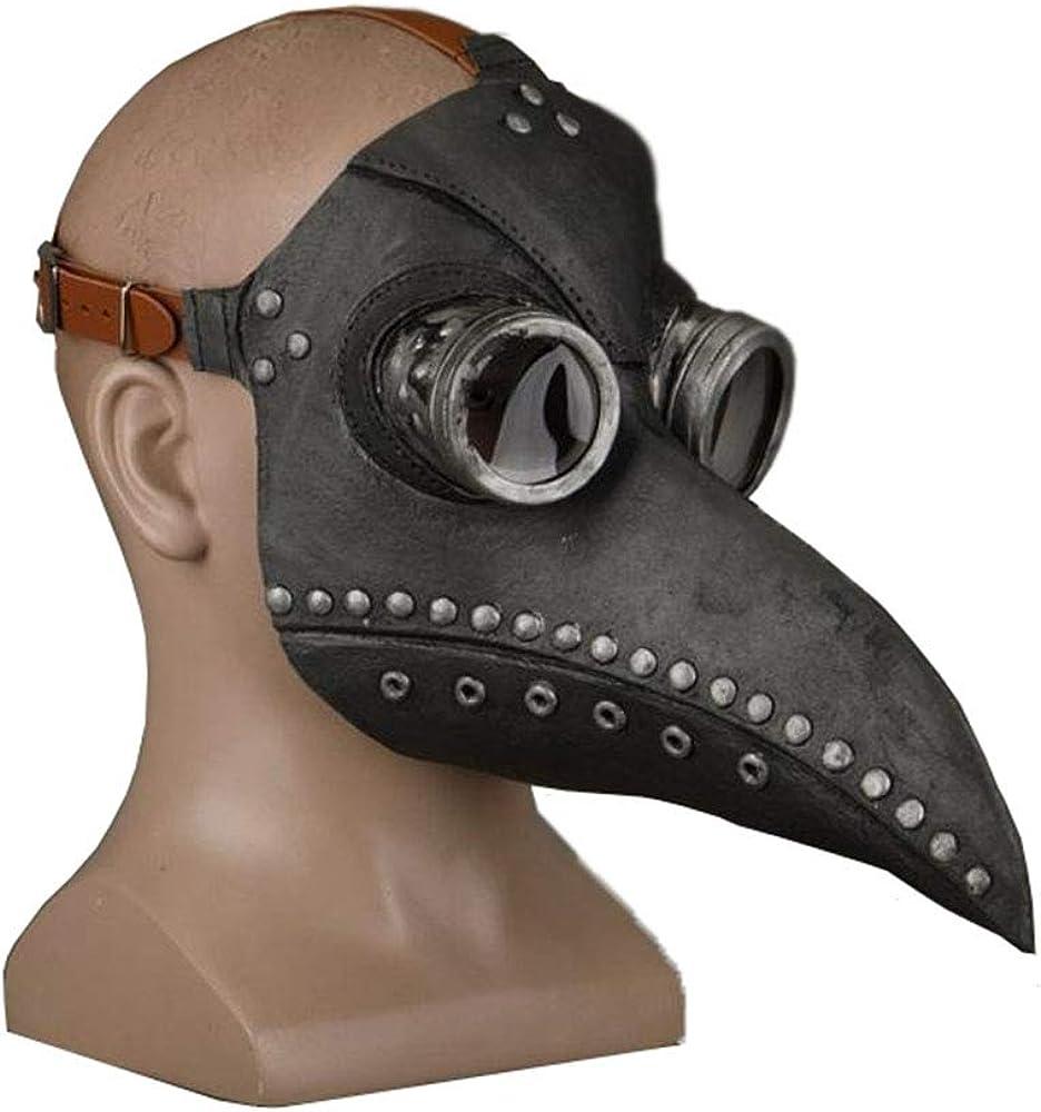 Plague Doctor Bird Mask Long Nose Beak Cosplay Steampunk Halloween Latex Material Costume Props Black