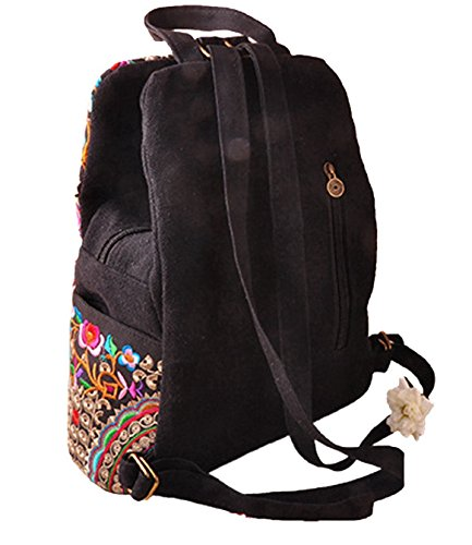 Bag Girls Handmade Bag Travel Embroidered Canvas Rucksack Backpack 01 School Ethnic Backpack Vintage Women LeaLac Style 02 Flower q6BAS