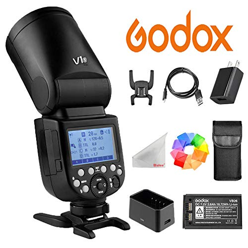 Godox V1-S Li-on TTL On-Camera Round Flash Speedlight Compatible with Sony Mi Hotshoe for Camerasfor Wedding Portrait Studio Photography (Hot Cable Shoe 01)