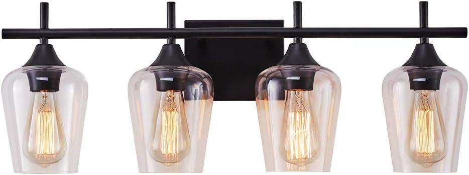 LHLYCLX 3-Light Dimmable Vanity Light, Farmhouse Bathroom Glass Shade Black Vanity Lights Over Mirror (4-Light)