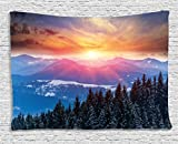 """Ambesonne Winter Tapestry, Sunset in Mountains with Hazy Sky with Dawn Horizon Theme, Wide Wall Hanging for Bedroom Living Room Dorm, 60"""" X 40"""", Orange Blue"""