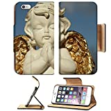 Apple iPhone 6 Plus iPhone 6S Plus Flip Pu Leather Wallet Case praying little angel figure with golden wings isolated on sky IMAGE 37104271 by MSD Customized Premium