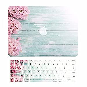 "TOP CASE – 2 in 1 Bundle Graphics Rubberized Hard Case (13"" Diagonally) + Keyboard Cover for MacBook Pro 13"" w./ Retina (Release 2012-2015) A1425 / A1502 - Pink Hyacinth Turquoise Wooden"
