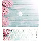 """TOP CASE – 2 in 1 Bundle Deal Vibrant Summer Graphics Rubberized Hard Case (13"""" Diagonally) + Keyboard Cover Compatible with Apple MacBook Air 13"""" Model A1369/A1466 - Pink Hyacinth Turquoise Wooden"""