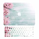 TOP CASE – 2 in 1 Bundle Deal Vibrant Summer Graphics Rubberized Hard Case (13' Diagonally) + Keyboard Cover Compatible with Apple MacBook Air 13' Model A1369/A1466 - Pink Hyacinth Turquoise Wooden
