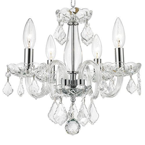 - Worldwide Lighting W83100C16-CL Clarion 4 Light Mini Crystal, 16