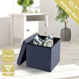 Seville Classics WEB352 15.7' Foldable Storage Ottoman Footrest Toy Box Coffee Table Stool, Single, Midnight Blue