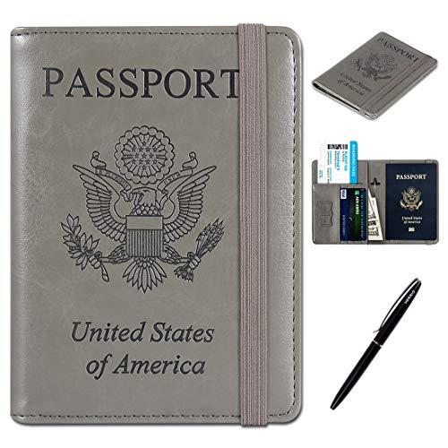 RFID Passport Holder Cover-Travel Wallet Card Case for Women&Man With Bonus Pen(Silver Gray)