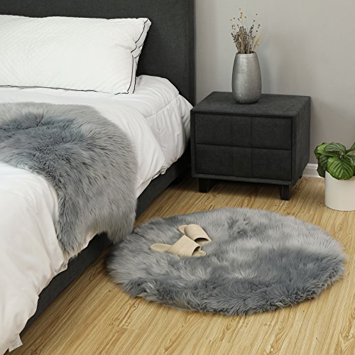 SONGMICS Super Soft Thick Faux Fur Rug, Faux Sheepskin Area Rug for Living Room Bedroom Dormitory Home Decor, Photo Prop, Diameter 3 Feet, Gray URFR91GY by SONGMICS (Image #1)