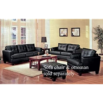 2 PCs Black Classic Leather Sofa And Loveseat Set