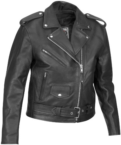 (River Road Basic Leather Jacket , Gender: Mens/Unisex, Apparel Material: Leather, Size: 54, Primary Color: Black, Distinct Name: Black 199-54)