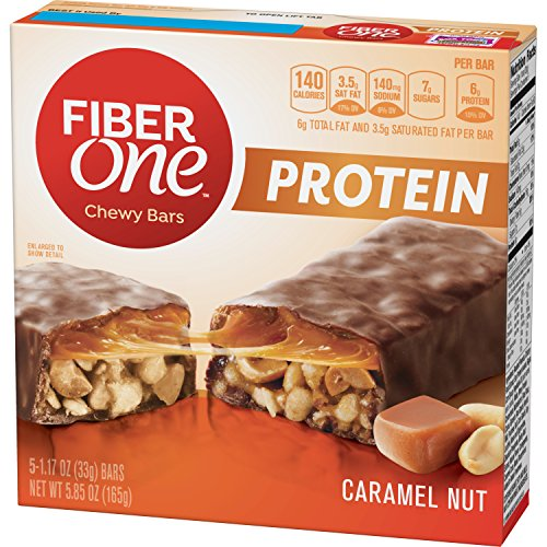 Fiber One Protein Bar, Caramel Nut Chewy Bars, 5 Fiber Bars, 5.85 oz - Chocolate Oatmeal Fiber