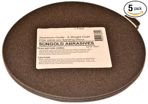 Weight Cloth Premium Industrial Aluminum Oxide Psa Stick-On Sanding Discs For Stationary Sanders 5 Sanding Discs//Pack Sungold Abrasives 339054 60 Grit 9 X