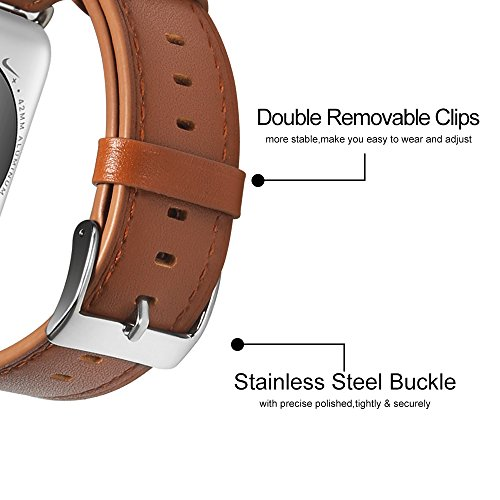 Compatible with Apple Watch Band, COVERY 42MM Watch Band Genuine Leather Strap Stainless Metal Buckle Compatible Apple Watch Series 3, Series 2, Series 1, Sport & Edition- Brown by COVERY (Image #5)