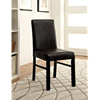Furniture of America Bahia Contemporary Crocodile Leatherette Dining Chair, Set of 2