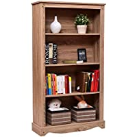 Giantex 4 Tier Bookcase Cabinet Storage and Organization Shelves Open Collection Shelf