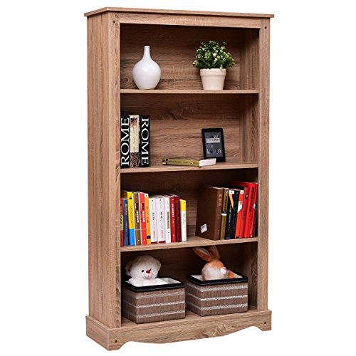 Giantex 4 Tier Bookcase Cabinet Storage and Organization Shelves Open Collection Shelf Mdf Oak Bookcase
