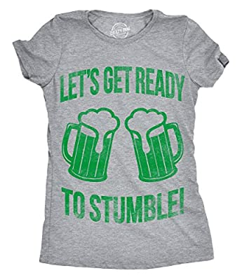 Womens Lets Get Ready to Stumble Funny St Saint Patricks Day T Shirt Drinking
