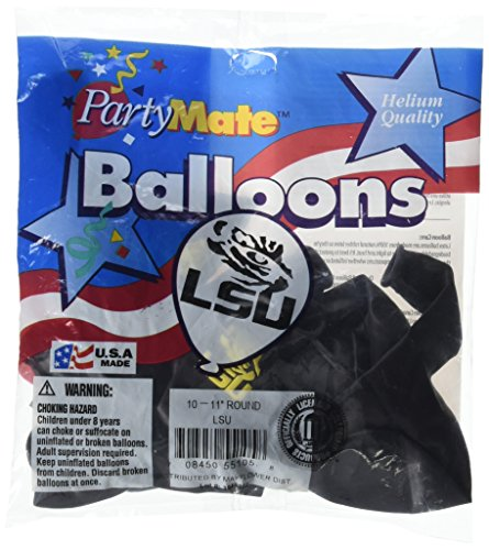 Pioneer Balloon Company 10 Count Lsu Latex Balloon, 11