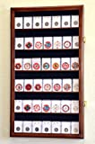 42 Collector NGC PCGS ICG Coin Slab Display Case Cabinet Holder Rack – Lockable, Walnut