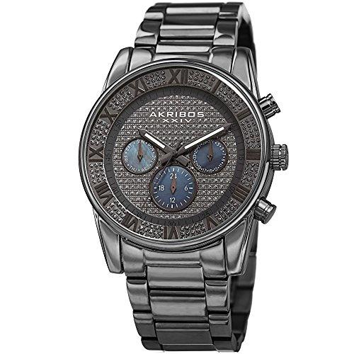 Akribos XXIV Gunmetal Grey Stainless Steel Men's Bracelet Watch -Quartz -AK939GN