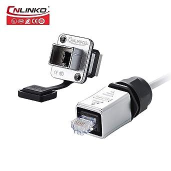 Fast Data CNLINKO RJ45 Ethernet Industrial Connector Outdoor Waterproof IP67 Panel Mount Receptacles Socket Jack