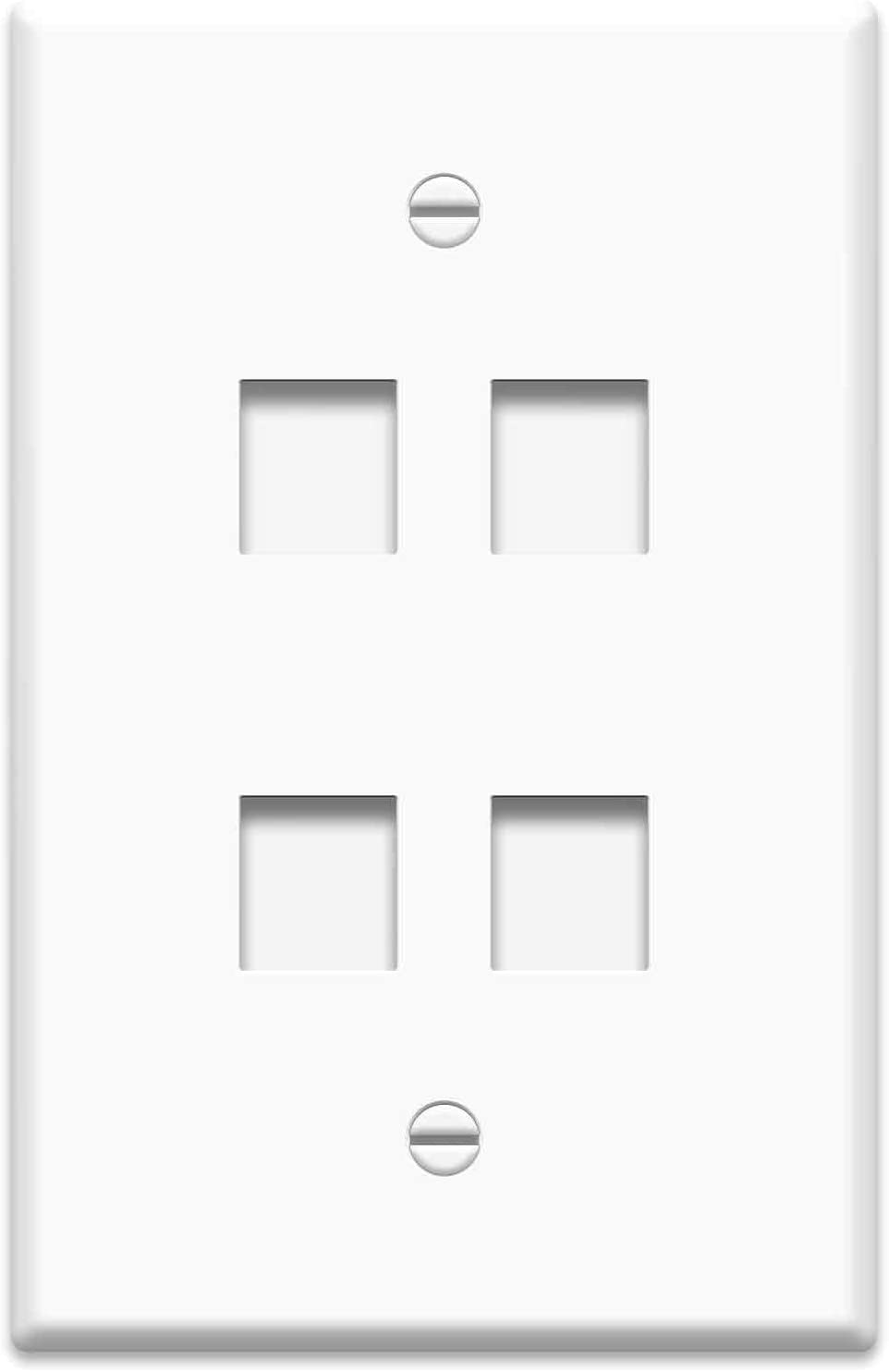 Legrand - On-Q WP3304WH Single Gang Oversized Wall Plate, 4Port, White