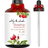 Face Moisturizer Lush - Lily & Lush XL Organic Rosehip Essential Oil for Face & Body (4 fl oz) - Undiluted Extra Virgin Grade Rose Hip Seed Oil Supports Skin Cell Restoration, Repair & Anti Aging | Includes Dropper