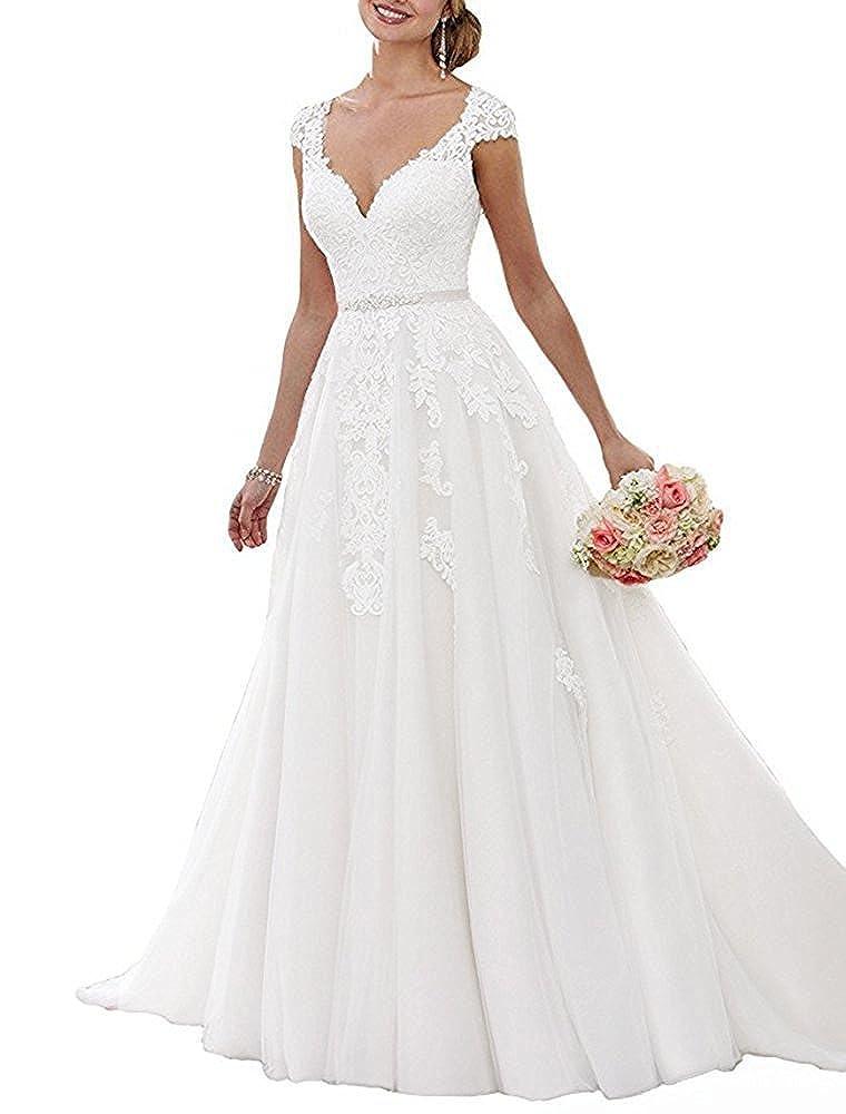 2018 Off Shoulder V Neck Applique Beaded A-Line Wedding Dress Long Women Bridal Gown
