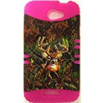 2 in 1 Hybrid Case Protector for AT&T HTC ONEX ONE X S720E Phone Hard Cover Faceplate Snap On Pink Impact Silicone + Deer Camo
