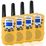 WisHouse Walkie Talkies for Kids, Toys for Boys and Girls Best Handheld Walky Talky with Flashlight,VOX Function,Share Your Happiness with Family and Friends Halloween(T388 Yellow 4 Pack)