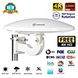 ANTOP HDTV Antenna Amplified Digital Outdoor Antenna-65 Miles Range 360 Degree Omni-Directiona Reception - Built-in 4G LTE Filter Fits for Indoor/Outdoor/RV/Attic Use VHF/UHF