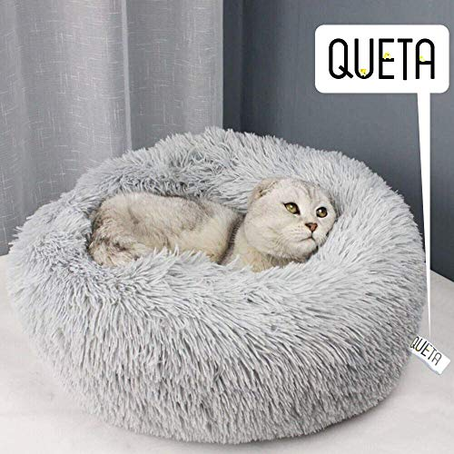 Queta Katzenbett Schöne Tierbett, Klein Hund Bett Haustierbett Plüsch Weich Runden Katze Schlafen Bett (50cm Durchmesser…
