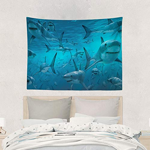 Jake Fashion Shop Underwater Shark Group sea Blue Tapestries Wall Art Hanging Tapestry, Wall Decoration Yoga Mat Table Cloth Curtain for Floor College Dorm Headboard Office - 50x60