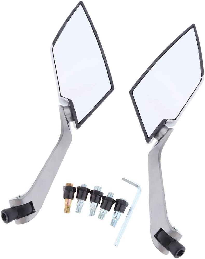 Argent SDENSHI Moto Universel R/étroviseur Lat/éraux avec LED Clignotants Int/égr/és pour Yamaha LY149QMG