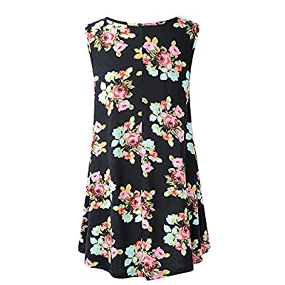 Veranee Women's Sleeveless Swing Tunic Summer Floral Flare Tank Top at Women's Clothing store