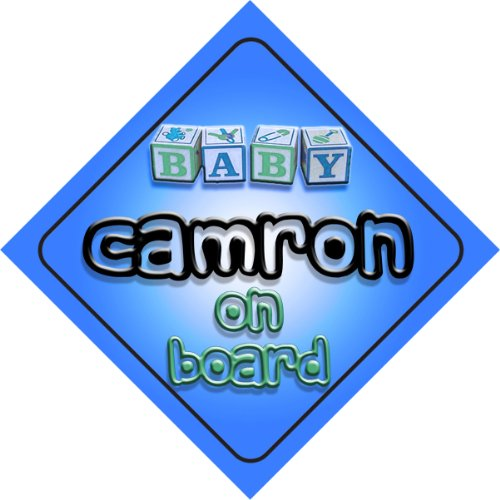 Baby Boy Camron on board novelty car sign gift / present for new child / newborn baby