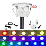 QACA Low Voltage LED Deck Lighting Kit Stainless Steel 0.2W~0.5W Waterproof Outdoor Yard Garden Decoration Lamps Landscape Pathway Patio Step Stairs RGB LED In-ground Lights, Pack of 30