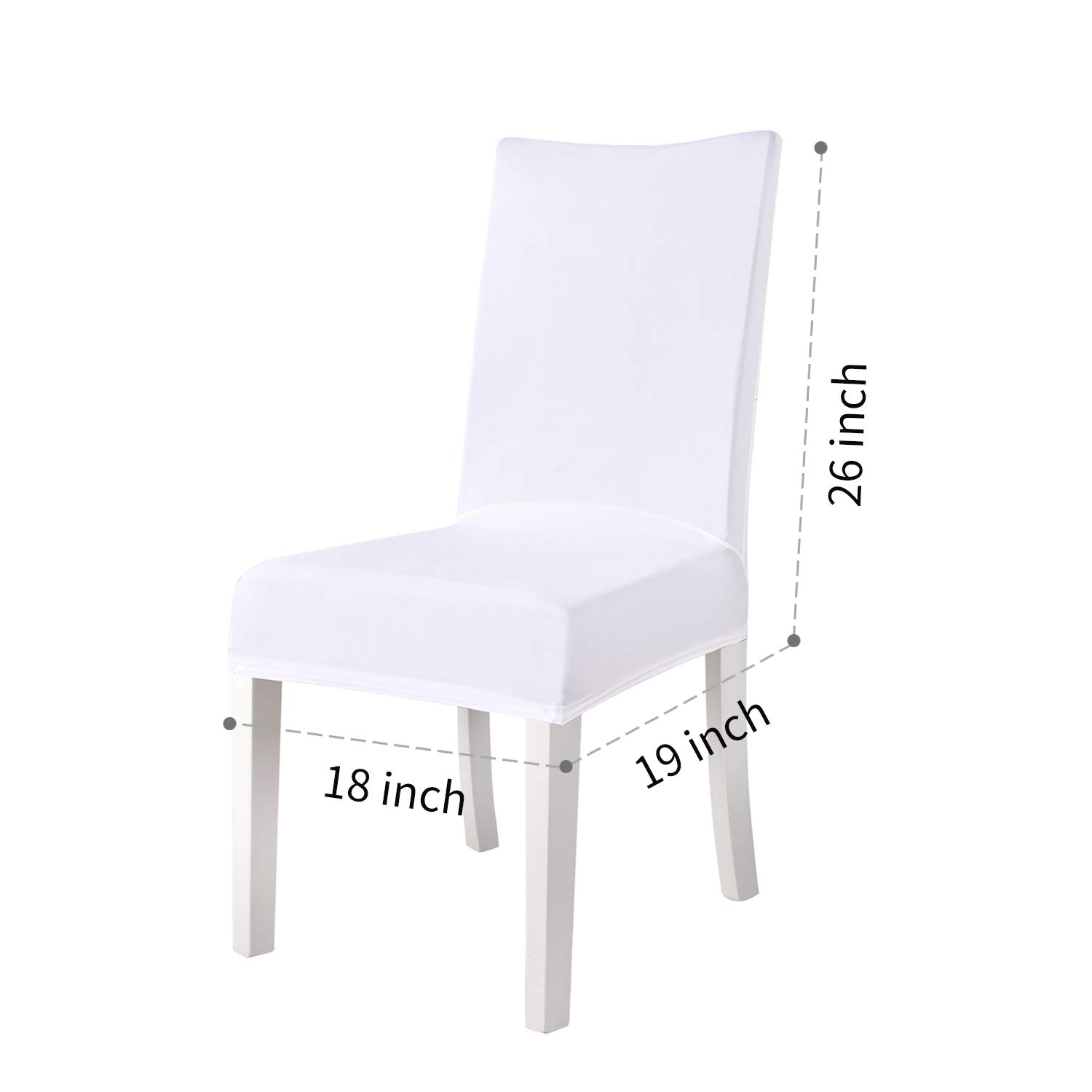 Monrise Stretch Dining Room Chair Covers 6 Pieces White Removable Washable Polyester Spandex Slipcover Furniture Protector for Banquet Wedding Kitchen Party