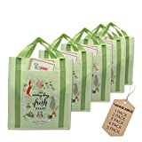 EcoJeannie 5 Pack X-Large X-Strong Non-wovehopping Tote Bag (Avail: Pack of 1,2,3,4,5 Bags), Made from Minimum 10% Recn Reusable Sycled Plastic w/Pocket, Bottom Board & Reinforced Nylon Handle(NWS051)…