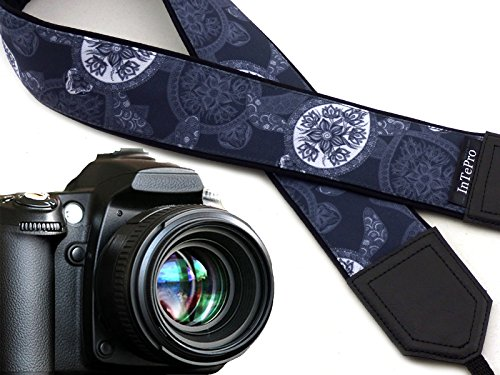 (Camera Strap Sea Turtles. Grey and White Stylized DSLR Camera Strap. Cute Camera Straps for him, her by InTePro Code 00270)