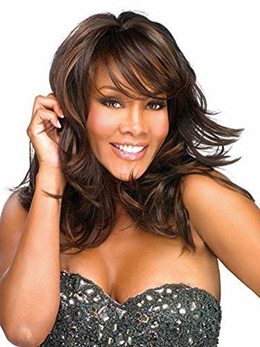AmorWig Shoulder Length Darker Brown Straight N Go Hair Wig for Black Women (Beyonce Costume For Sale)