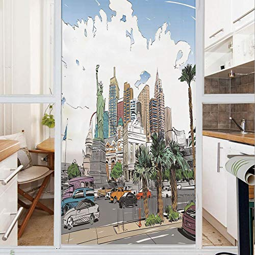 Decorative Window Film,No Glue Frosted Privacy Film,Stained Glass Door Film,Hand Drawn Las Vegas City Nevada Street Sketch Buildings Statue of Liberty Cars Palms,for Home & Office,23.6In. by 35.4In Mu
