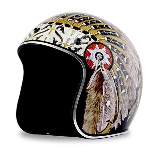 Sunzy Harley Motorcycle Helmet, Retro Adult Street Riding 3/4 Open face motorccle Helmet with Bubble Mirror/DOT Approved,XL
