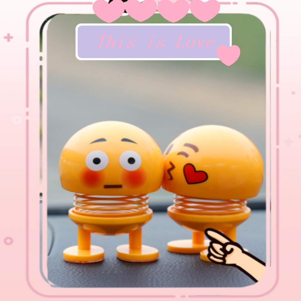 Kaptin 8 PCS Emoticon Spring Doll Smiling Face Spring Doll Shaking Head Dancing Doll Toy Bouncing Doll Desktop Doll Kids Party Favors Bounce Figure Dashboard Spring Figure Car Spring Doll by Kaptin (Image #4)