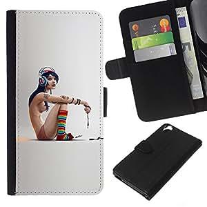 LECELL--Cuero de la tarjeta la carpeta del tirón Smartphone Slots Protección Holder For HTC Desire 820 -- Flaco Emo Chica --