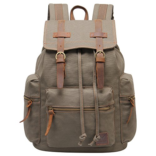 Hynes Eagle Vintage Canvas Backpack Travel Rucksack 19L Army -