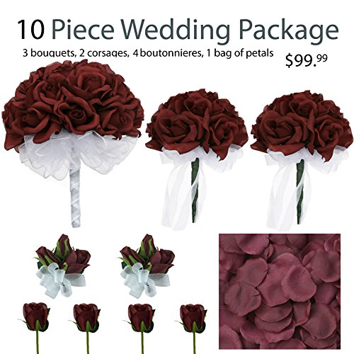 [10 Piece Wedding Package - Silk Wedding Flowers - Bridal Bouquets - Burgundy Bouquets] (Burgundy Bridal Bouquet)